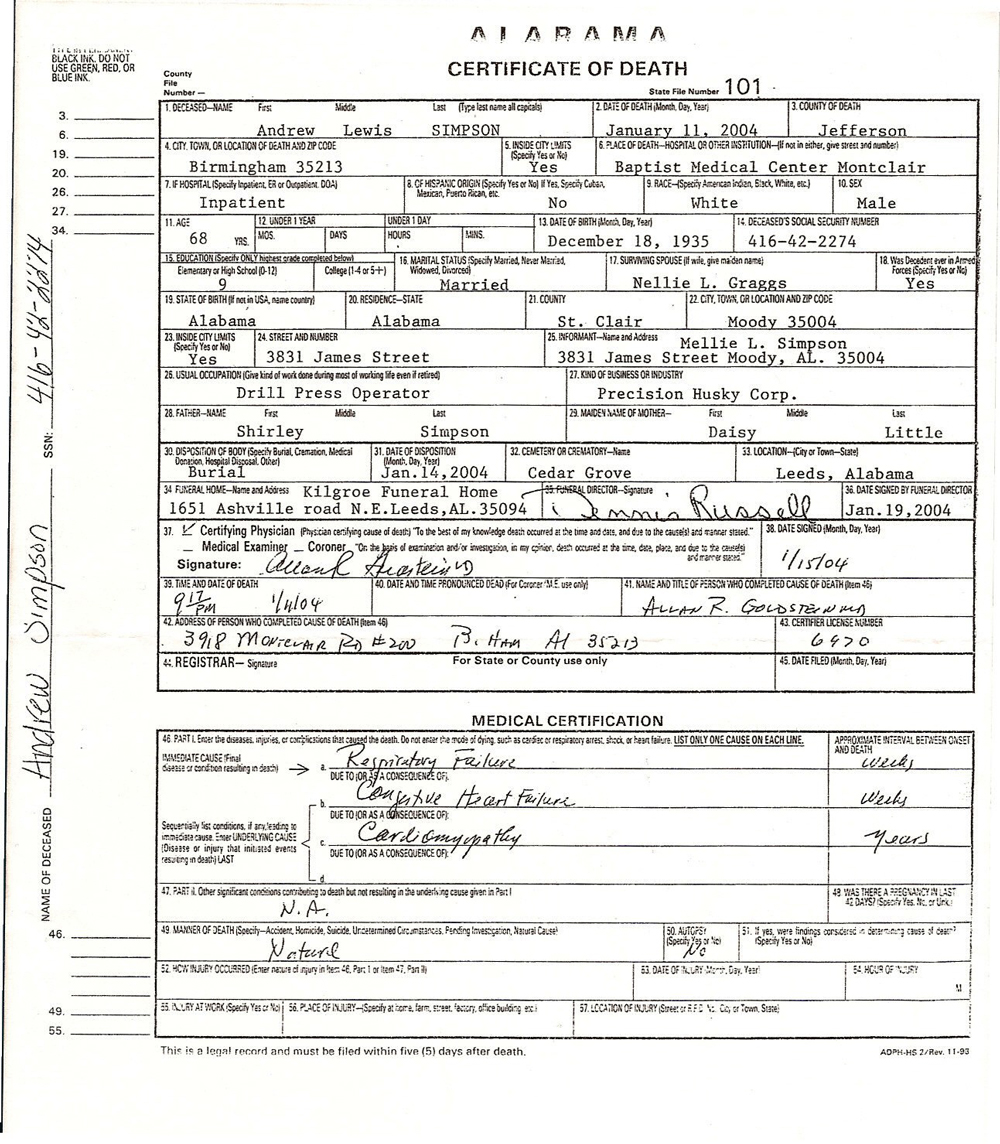 Gibson family history view death certificate xflitez Image collections