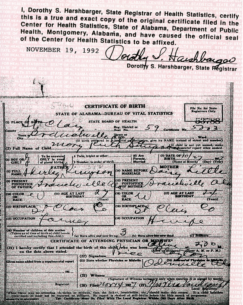 Gibson family history view birth certificate aiddatafo Images