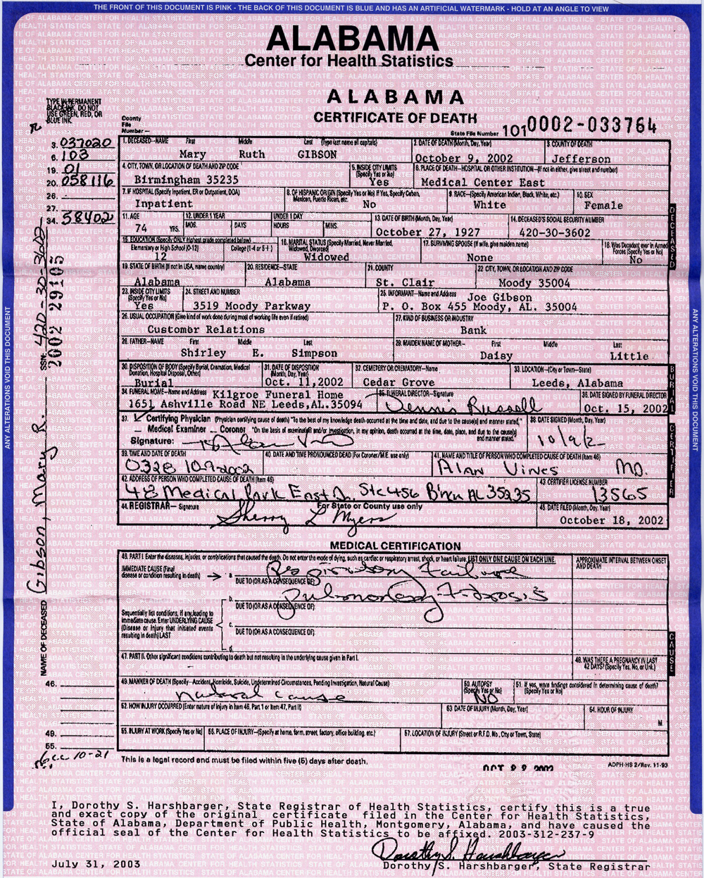 Gibson family history view death certificate xflitez Choice Image